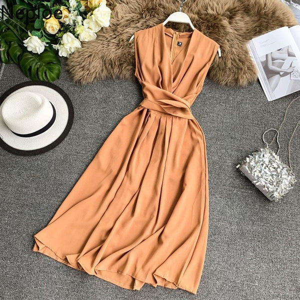 The Best V-Neck Sleeveless Dresses French Chic Cross Drawstring Slim Waist Online - Source Silk