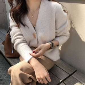 Buy Cheap V-neck Women Sweaters Autumn Winter Single-breasted Cardigans Female Online - Hplify