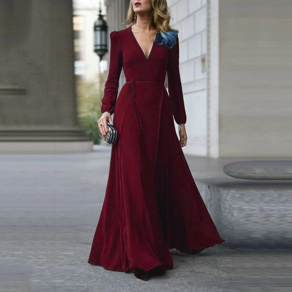 The Best Vintage Formal Dress Women Lady V Neck Long Sleeve Maxi Dress Autumn Winter Evening Party Wedding Prom Gown Dress Online - Hplify