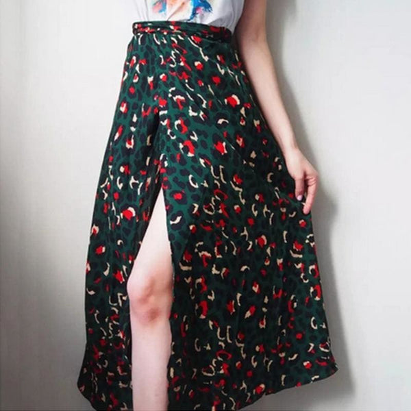 The Best Vintage Leopard Print Long Skirts Women High Waist Midi Skirt Bow Tie Summer Split Wrap Skirt Ladies Green Beach Online - Hplify