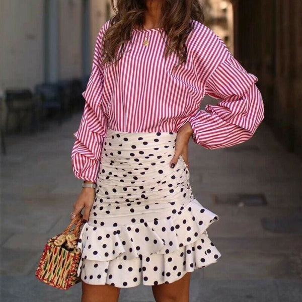 The Best Vintage Polka Dot White Mini Skirts Women high waist skirt streetwear korean style chic Ruffle skirt Casual Summer skirts Online - Hplify