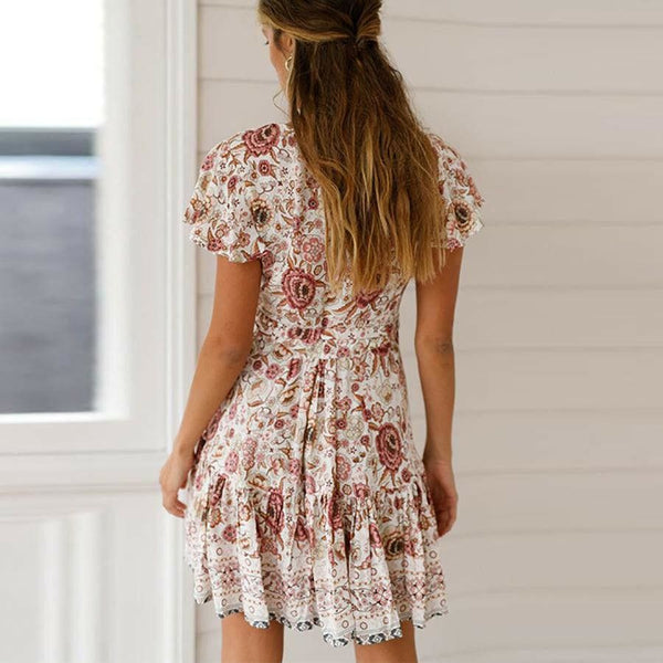 The Best Vintage Women Short Sleeve Wrap Boho Floral Mini Dress Ladies Summer Sundress Holiday V neck Short Sleeve Print Dress Online - Hplify
