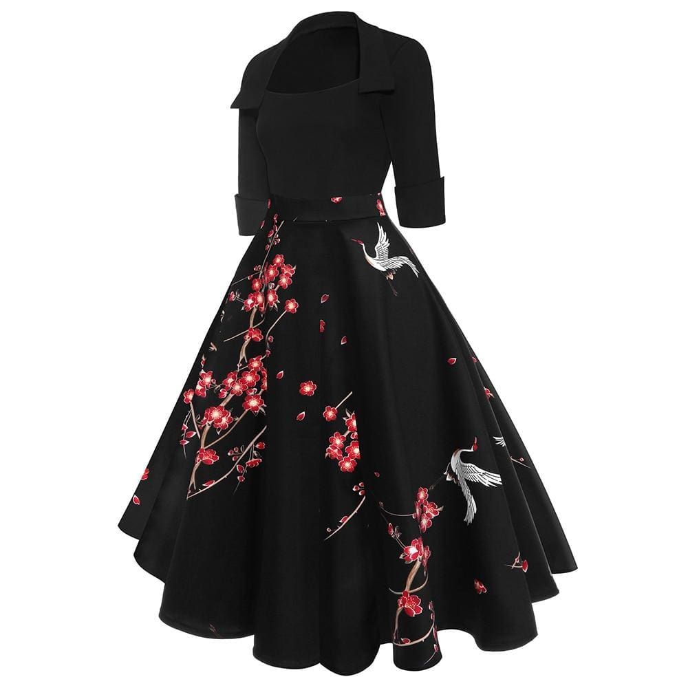 Buy Cheap Vrouwen Vierkante Kraag Dress Retro Jurk Lente Rockabilly 1960's Party Online - Hplify