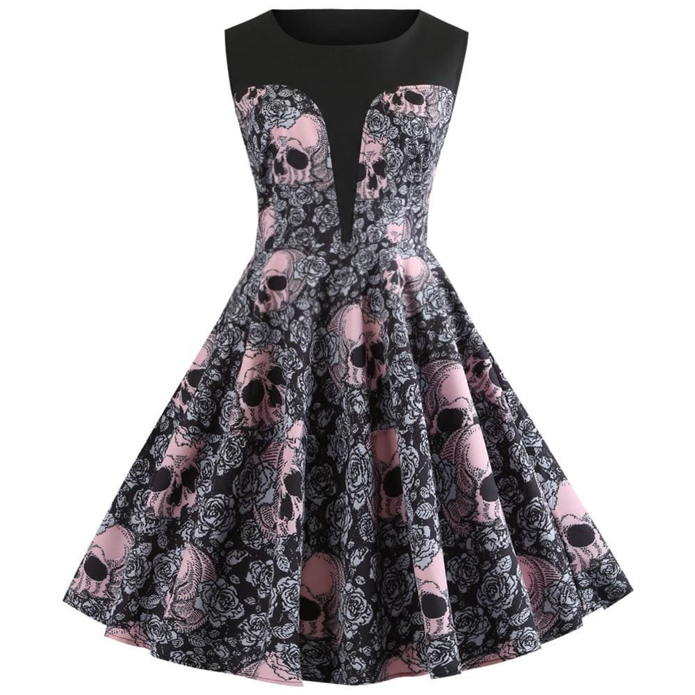 The Best Vrouwen Vintage Jurk Halloween Jurk Mouwloze Rockabilly Party Jurken Online - Source Silk