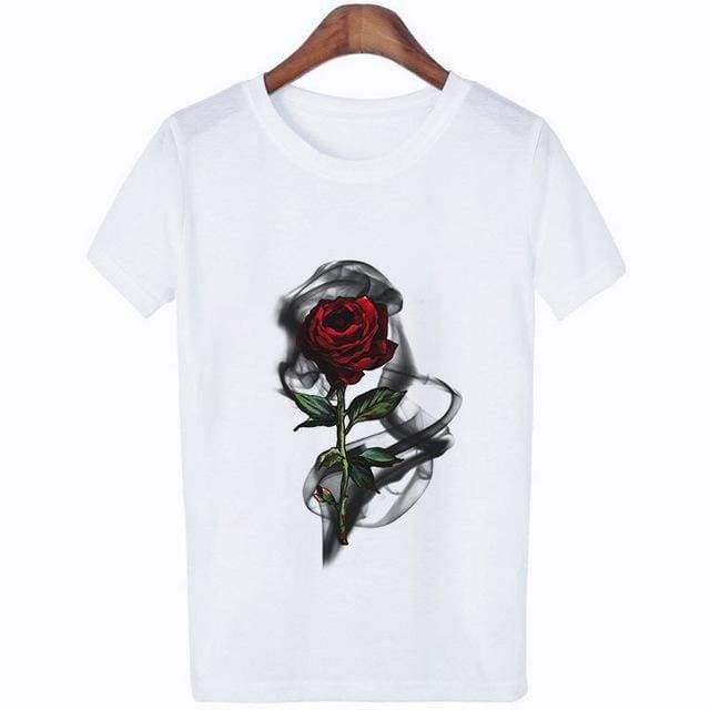 The Best Wild flower Graphic Tees Women Shirts Short Sleeve T-shirt O-neck Tops Online - Hplify