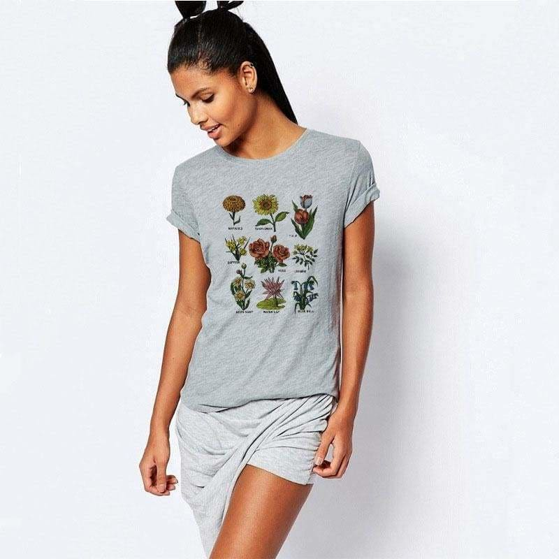 Buy Cheap Wild flower Graphic Tees Women Shirts Short Sleeve T-shirt O-neck Tops Online - Hplify