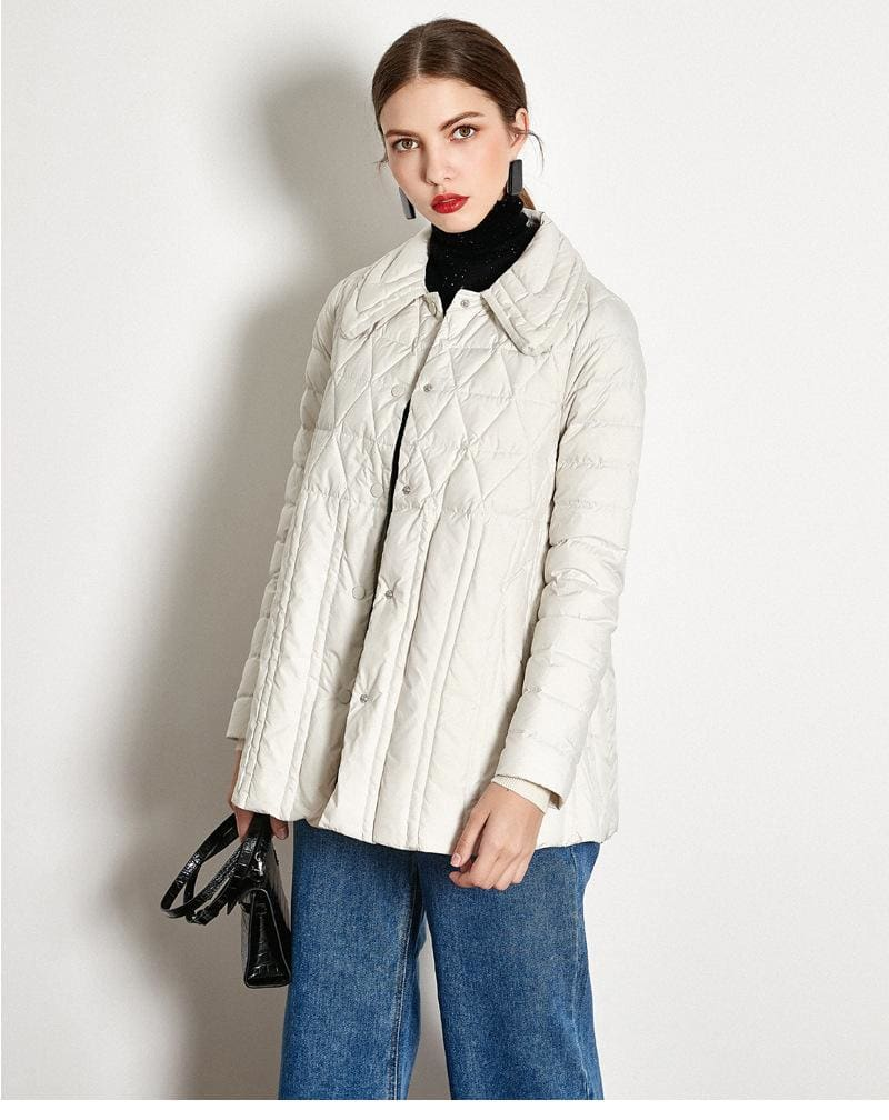 The Best Winter Loose Down Jacket Short White Duck Down Thin Coat Female Online - Hplify