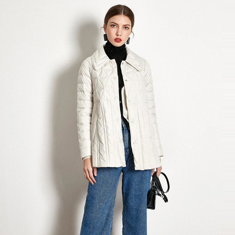 Winter Loose Down Jacket Short White Duck Down Thin Coat Female - Down Jacket