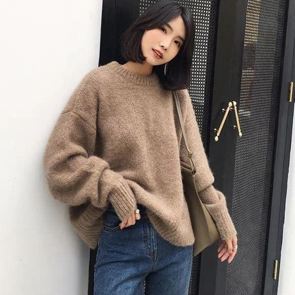 The Best winter new loose cashmere blend sweater for women casual modis Online - Source Silk