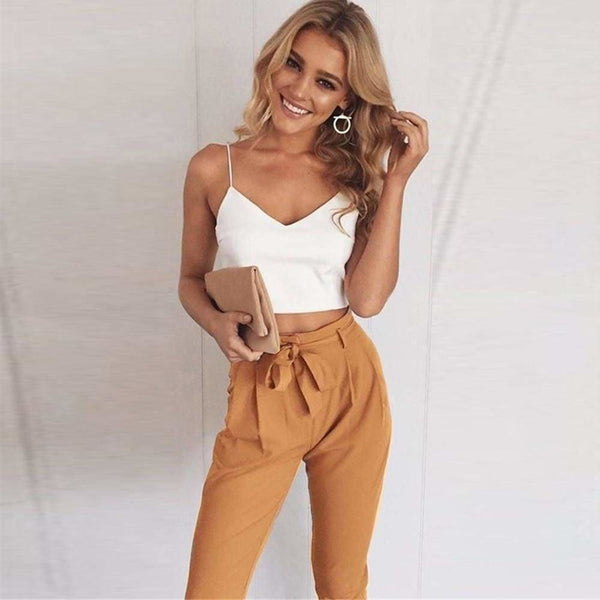 The Best Women 2 Piece Set Spaghetti Straps Short Top and Khaki Pants Online - Source Silk