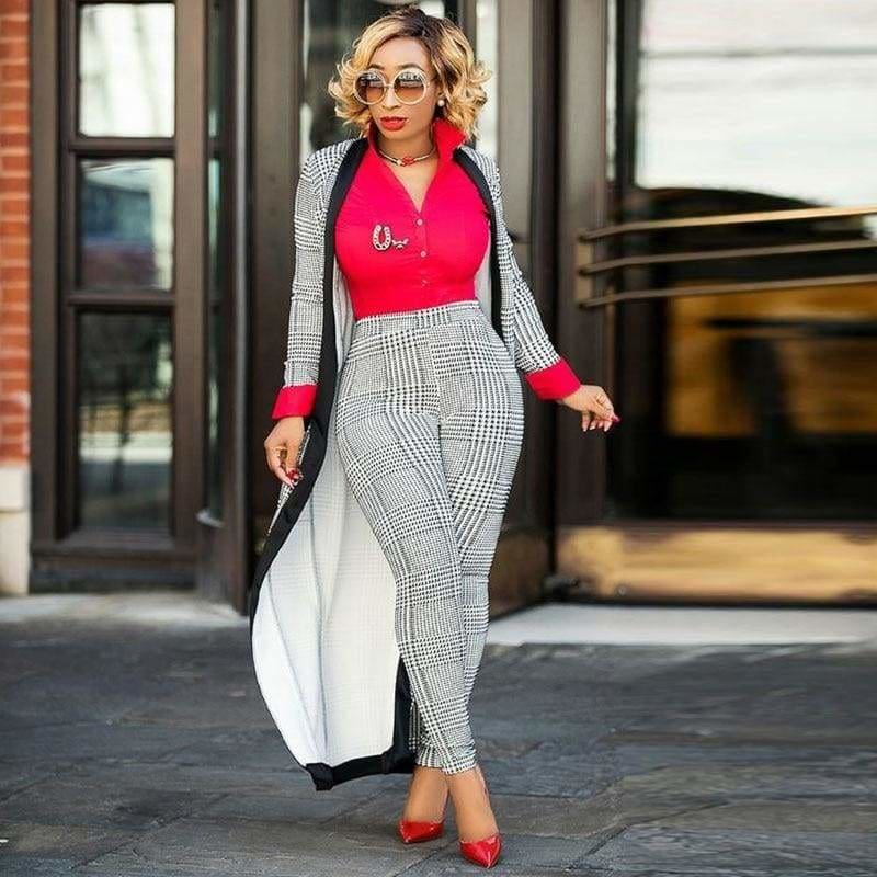 The Best Women 2 Pieces Sets Pencil Pants Jacket Fashion Suit Online - Source Silk