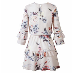 Buy Cheap Women Autumn Spring Elegant Vintage Floral Ruffles Mini Dress Chsinese Printed Casual Dress Online - Hplify