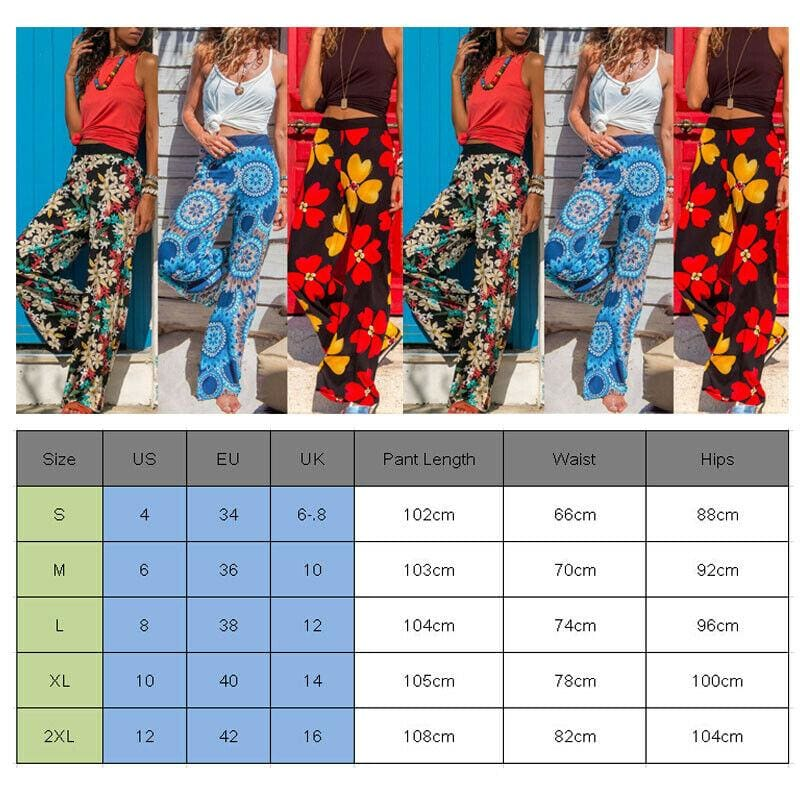 Women Baggy Harem Pants Boho Hippie Wide Leg Pant High Waist Trousers - Hplify