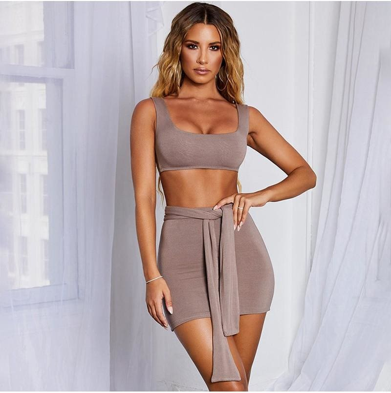 The Best Women Bandage Bodycon Crop Top and Skirt Suit Sexy Ladies Evening Party Club Streetwear 2 Piece Set Online - Hplify