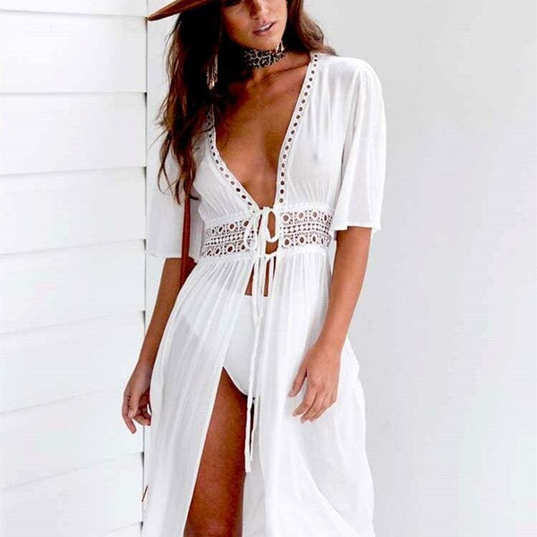 The Best Women Beach Dress Summer Bikini Cover up Solid Lace Hollow Out Chiffon Swimwear Long Sleeve Bathing Suit Sexy Swimsuit Tunic Online - Hplify
