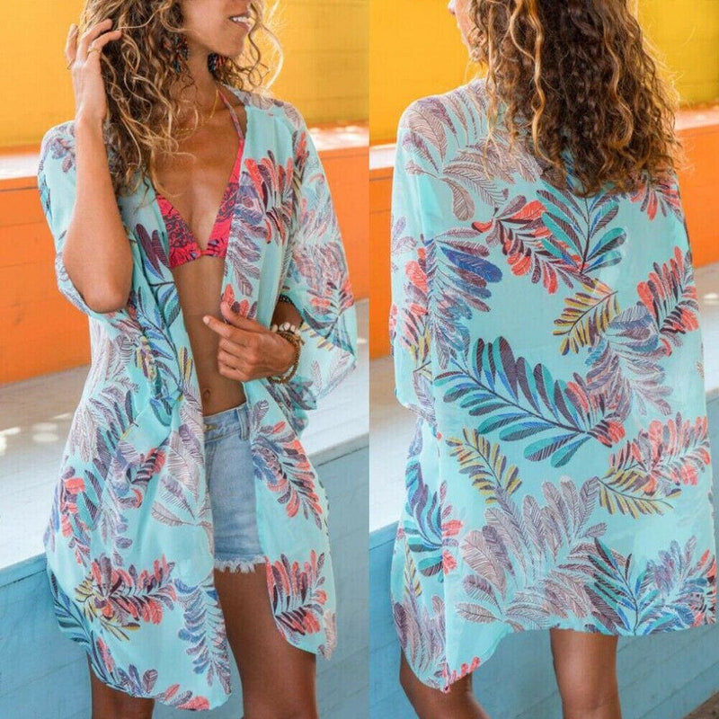The Best Women Bikini Cover Up Print Half Sleeve Short Coat Ladies Beach Coat Female Summer Beach Holiday Cover Up Clothes 2 Color Online - Hplify