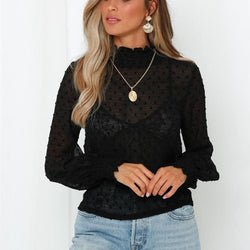 The Best Women Blouse Shirt High Neck Polka Dot Mesh Sheer See-Through Long Sleeve Tops Tee Shirt Online - Hplify