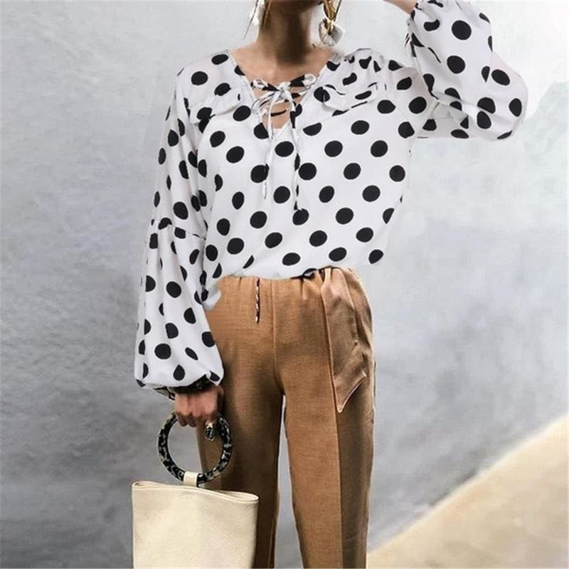 The Best Women Blouse Shirt Polka Dot Striped Leopard Loose Blouse Top Tunic Shirt Online - Hplify