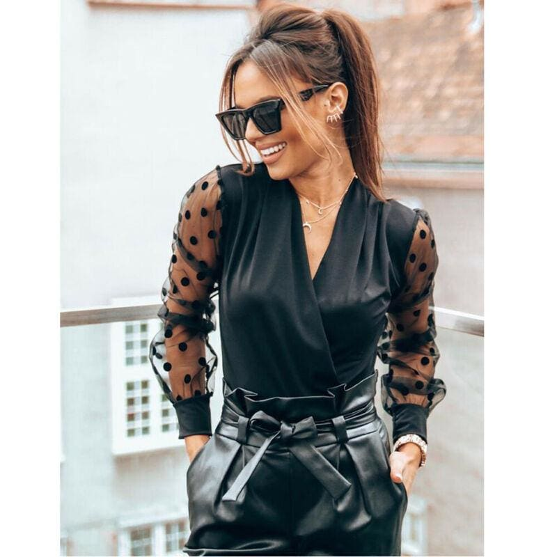 The Best Women Blouse Shirt V Neck Mesh Puff Long Sleeve Loose Tee Online - Hplify