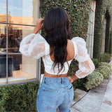 The Best Women Blouse Tops Sheer Long Sleeve Casual Blouse Slimmer Fitting Solid Holiday Crop Tops Shirt Online - Source Silk