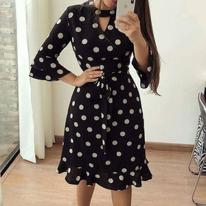 Women Boho 3/4 Sleeve Ruffles Loose Fit Short Party Dress Casual Ladies Holiday Clothing - Black / S - Dresses