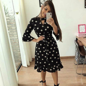 Women Boho 3/4 Sleeve Ruffles Loose Fit Short Party Dress Casual Ladies Holiday Clothing - Dresses