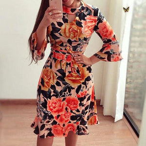 Women Boho 3/4 Sleeve Ruffles Loose Fit Short Party Dress Casual Ladies Holiday Clothing - Red / S - Dresses