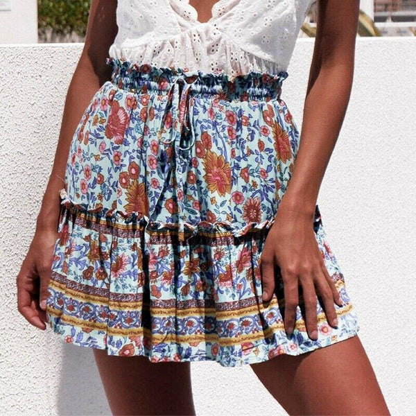 The Best Women Boho Casual Floral Skirt New Fashion Ladies Stretch High Waist Beach Summer Short Mini Skirt Sundress Online - Hplify