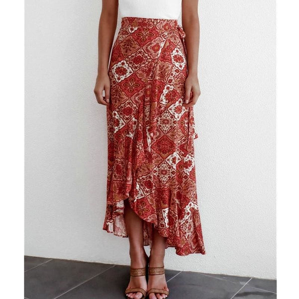 The Best Women Boho Floral Jersey Gypsy High Waist Long Skirt Ladies Summer Beach Holiday Casual Ruffle Wrap Sundress Online - Hplify
