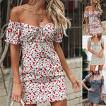 Women Boho Floral Off Shoulder Bodycon Short Sleeve Dress Summer Beach Party Short Mini Slim Dress Sundress - Dresses