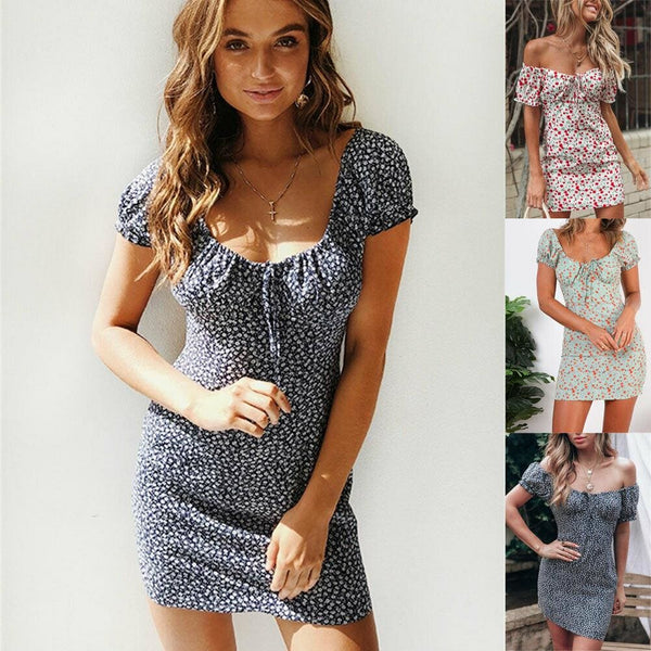 The Best Women Boho Floral Off Shoulder Bodycon Short Sleeve Dress Summer Beach Party Short Mini Slim Dress Sundress Online - Hplify