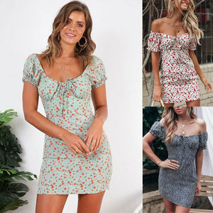 Women Boho Floral Off Shoulder Bodycon Short Sleeve Dress Summer Beach Party Short Mini Slim Dress Sundress - Hplify
