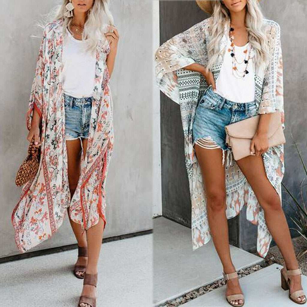 Women Boho Floral Summer Beachwear Bikini Cover Up Kimono Blouse Beachwear Coat Cardigan Long Sunscreen Bathing Suit - Womens Beachwear