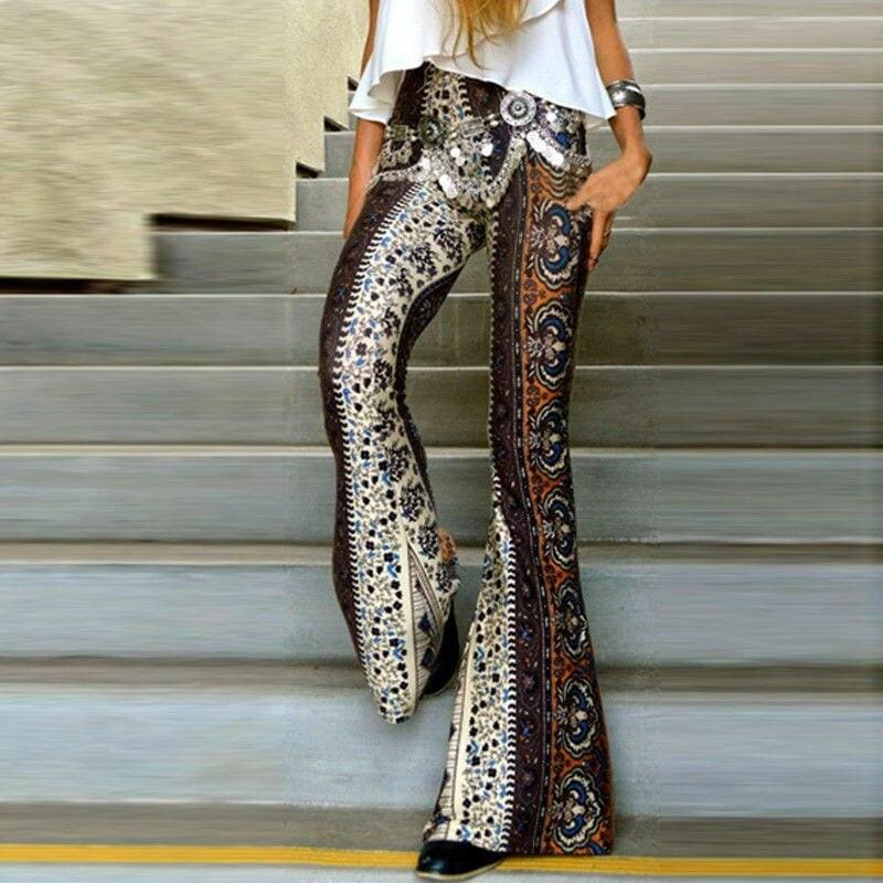 The Best Women Boho Hippie High Waist Loose Wide Leg Flared Bell Bottom Fashion Ladies Floral Long Pant Summer Trouser Online - Source Silk