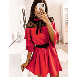 The Best Women Boho Ruffle Sleeve A-Line Dress Lady Sexy Party Evening Bow Mini Dress Online - Hplify