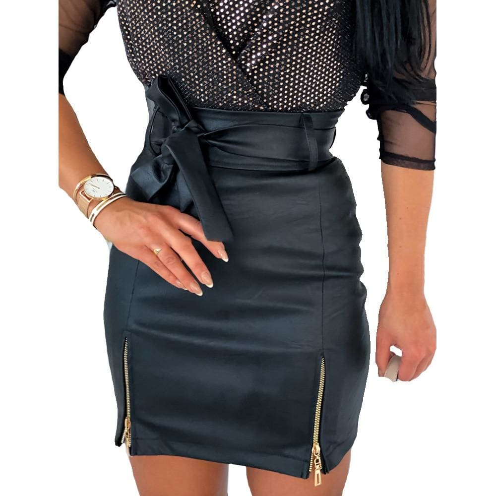 Buy Cheap Women Bow Tie High Waist Mini Skirt Zip Up Stretch Bandage Bodycon Skirt Online - Hplify