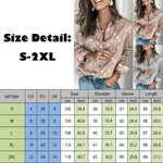 Women Button Polka Dot V Neck Blouse Long Sleeve Tops - Tops