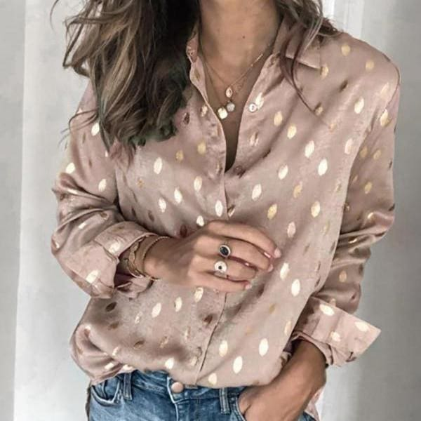 Women Button Polka Dot V Neck Blouse Long Sleeve Tops - Champagne / S - Tops