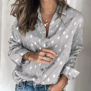 Women Button Polka Dot V Neck Blouse Long Sleeve Tops - Silver / S - Tops