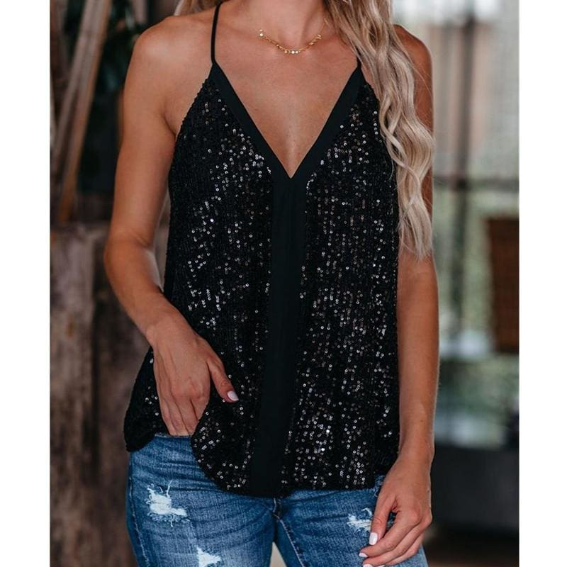 The Best Women Camisole Casual V Neck Sequins Strappy Tank Top Vest sleeveless Solid Blouse Tee Online - Source Silk