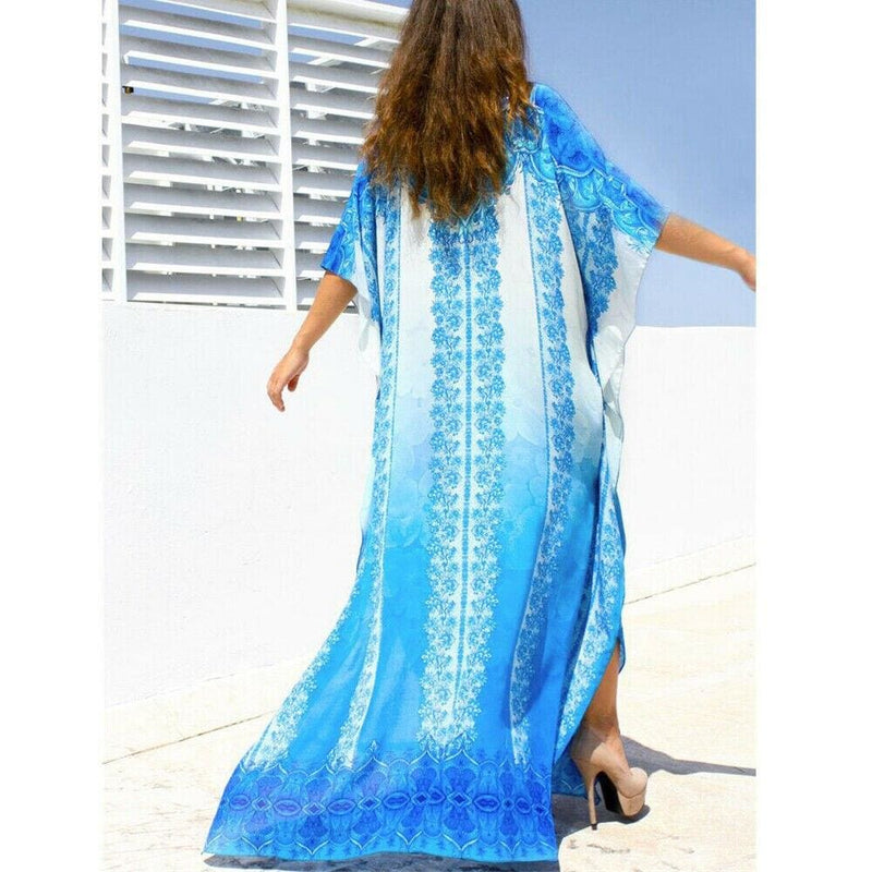 The Best Women Casual Bikini Cover Up Swimwear Loose Beachwear Sundress Baggy Tunic Tops Kimono Boho Sarong Kaftan Sun Dress Online - Hplify