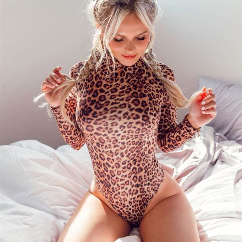 Women Casual Leopard Bodysuit Sexy Ladies High Neck Long Sleeve Leotard Slim Jumpsuit Romper Tops Overalls for Women - Womens Clothing