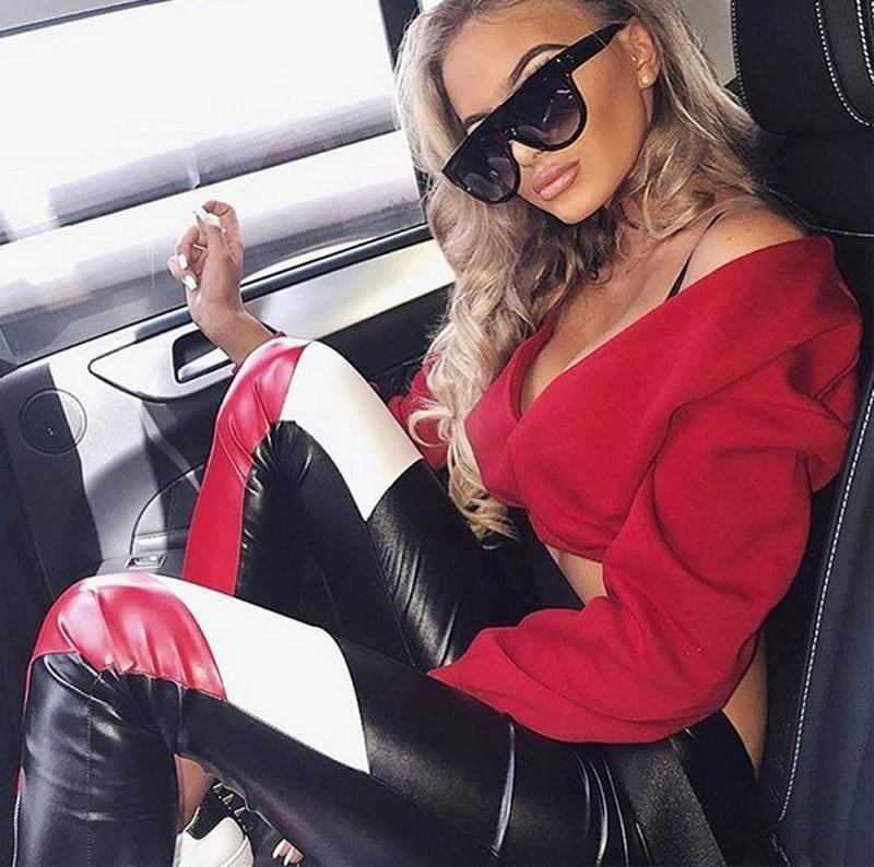 The Best Women Casual Long Sleeves Deep-V Top Off Shoulder Solid T-Shirt Tops Fashion Autumn Clothes Online - Hplify