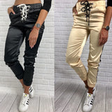 The Best Women Casual Pants Elastic Waist Jogger Skinny Trousers Side Pockets Sweatpants Online - Source Silk
