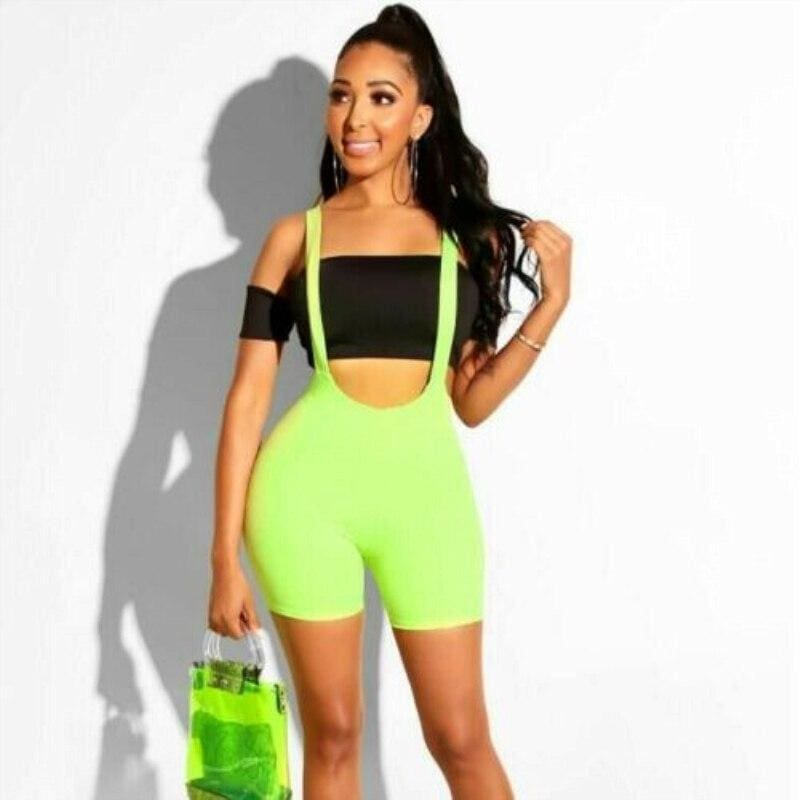 The Best Women Casual Sleeveless Bodycon Romper Suspenders Dungarees Bib Shorts Playsuit Sport Stretch Jumpsuit Slim Fit Overalls Online - Hplify