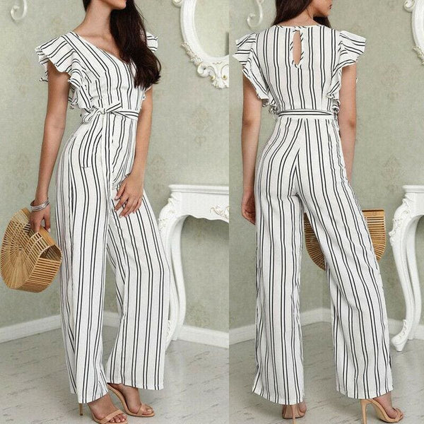 The Best Women Casual Striped V Neck Loose Playsuit Jumpsuits Women Romper Party Ladies Sleeveless Long Pant Trouser Jumpsuit Online - Hplify