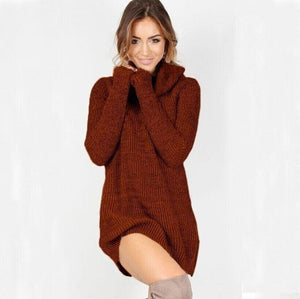 Women Casual Turtleneck Pullover Long Knitted Oversize Long Sleeve Jumper Sweaters Shirt Tops Dresses - Brown / S - Dresses