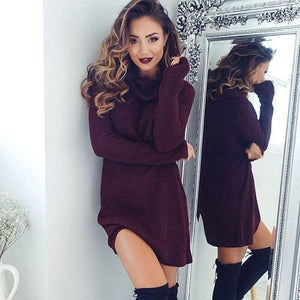 Women Casual Turtleneck Pullover Long Knitted Oversize Long Sleeve Jumper Sweaters Shirt Tops Dresses - Burgundy / S - Dresses