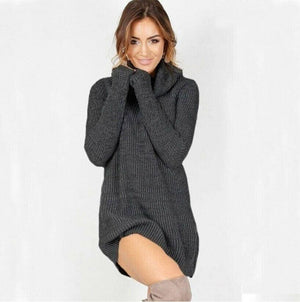 Women Casual Turtleneck Pullover Long Knitted Oversize Long Sleeve Jumper Sweaters Shirt Tops Dresses - Dark grey / S - Dresses
