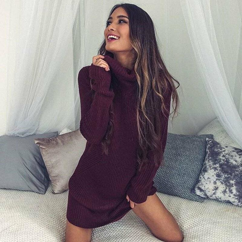 Women Casual Turtleneck Pullover Long Knitted Oversize Long Sleeve Jumper Sweaters Shirt Tops Dresses - Dresses